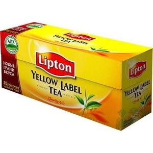 Чай черный Lipton Yellow Label, 50 пакетиков х 2г